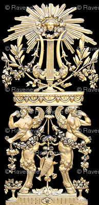 satyrs sun rays goddess flowers floral wreath leaves rams goats horns wings naked men muscular strong man pipes music baroque gold black victorian beards bearded pan bows vases shields swags fantasy myths mythical folk fairy tales