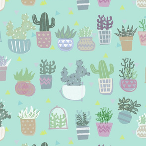 succulent plants block print