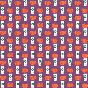 super tiny pumpkins coffee pumpkin spice latte coffee drinks cute coffee latte fall autumn design - purple