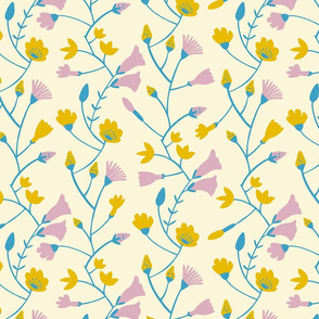 Botanical pattern in blue, yellow and pink
