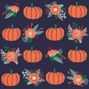 pumpkin florals fabric fall autumn pumpkin spice vibes - navy