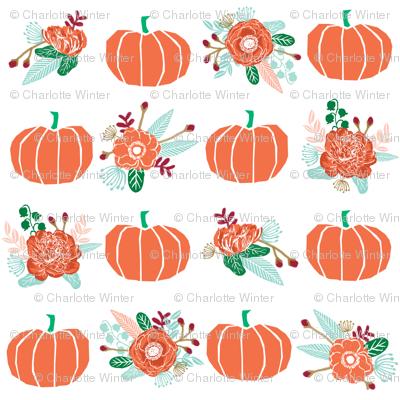 pumpkin florals fabric fall autumn pumpkin spice vibes - white