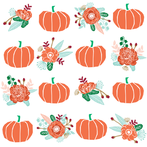 pumpkin florals fabric fall autumn pumpkin spice vibes - white fabric by charlottewinter on Spoonflower - custom fabric