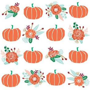pumpkin florals fabric fall autumn pumpkin spice vibes - white