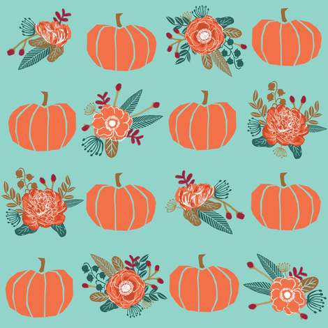 pumpkin florals fabric fall autumn pumpkin spice vibes - minty fabric by charlottewinter on Spoonflower - custom fabric
