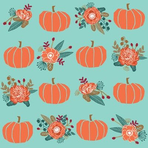pumpkin florals fabric fall autumn pumpkin spice vibes - minty