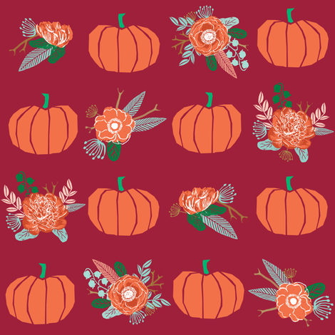 psl_pumpkin_floralspumpkin florals fabric fall autumn pumpkin spice vibes - marroon fabric by charlottewinter on Spoonflower - custom fabric