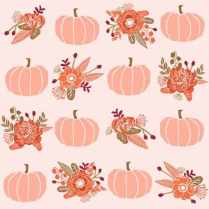 pumpkin florals fabric fall autumn pumpkin spice vibes - rose