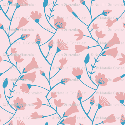 Botanical pattern in blue and pink tones