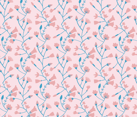 Botanical pattern in blue and pink tones fabric by natalia_gonzalez on Spoonflower - custom fabric