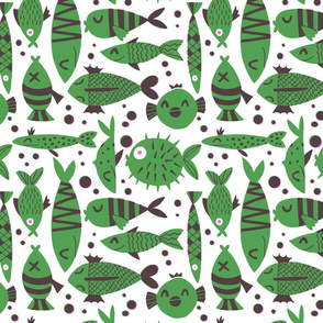 Fishes risography effect green
