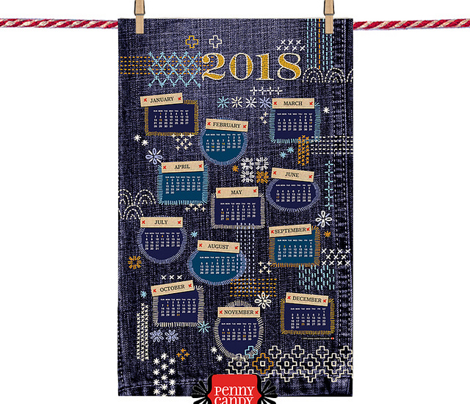 2018 Fauxboro Tea Towel Calendar* || embroidery stitch stitching needlepoint needlework boro Japanese collage geometric yarn thread patchwork denim cut and sew diy print poster wall hanging