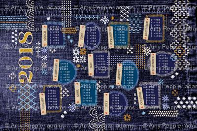 2018 Fauxboro Tea Towel Calendar* || embroidery stitch stitching needlepoint needlework boro Japanese collage geometric yarn thread patchwork denim cut and sew diy