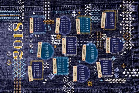 2018 Fauxboro Tea Towel Calendar* || embroidery stitch stitching needlepoint needlework boro Japanese collage geometric yarn thread patchwork denim cut and sew diy fabric by pennycandy on Spoonflower - custom fabric