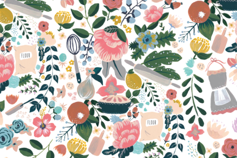 Whimsical kitchen fabric by tozour_design on Spoonflower - custom fabric