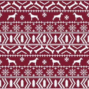 Doberman Pinscher fair isle christmas fabric dog silhouette holiday dogs maroon