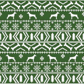 Doberman Pinscher fair isle christmas fabric dog silhouette holiday dogs medium green