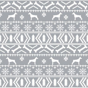 Doberman Pinscher fair isle christmas fabric dog silhouette holiday dogs grey