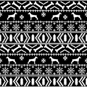 Doberman Pinscher fair isle christmas fabric dog silhouette holiday dogs black and white