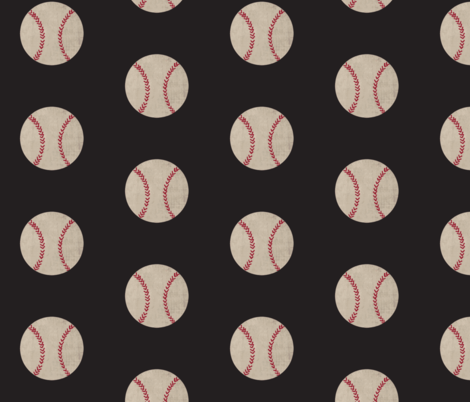 baseball vintage smooth black - Large 467 fabric by drapestudio on Spoonflower - custom fabric