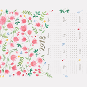 2018 Watercolor Floral Calendar Tea Towel