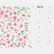 2018 Watercolor Floral Calendar Tea Towel