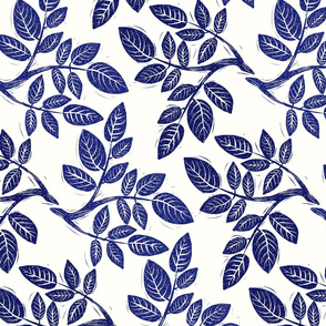 Block Print Branch in Blue