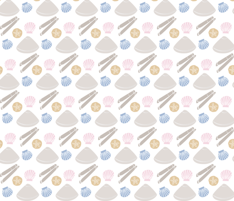 Seashells Comic Style fabric by jroachevans on Spoonflower - custom fabric