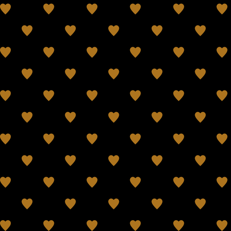 Matte Antique Gold Hearts on Black fabric by mtothefifthpower on Spoonflower - custom fabric