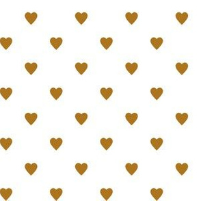 Matte Antique Gold Hearts on White