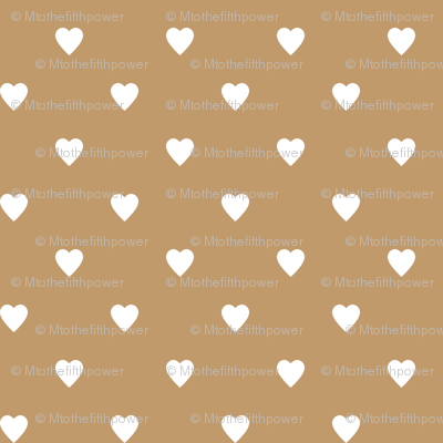 White Hearts on Camel Brown
