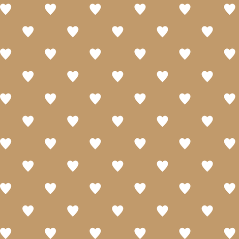 White Hearts on Camel Brown fabric by mtothefifthpower on Spoonflower - custom fabric
