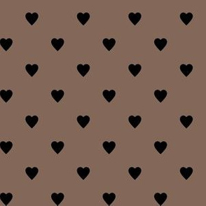 Black Hearts on Taupe Brown