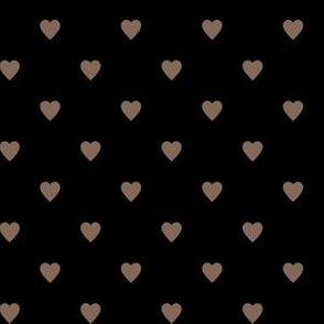 Taupe Brown Hearts on Black