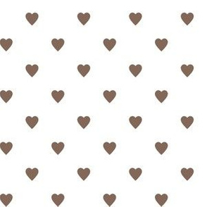 Taupe Brown Hearts on White