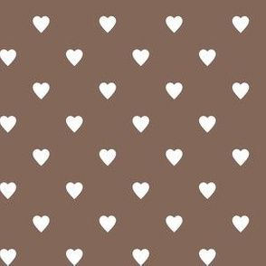 White Hearts on Taupe Brown