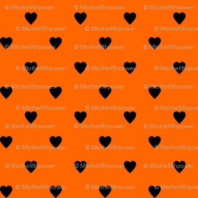 Black Hearts on Orange
