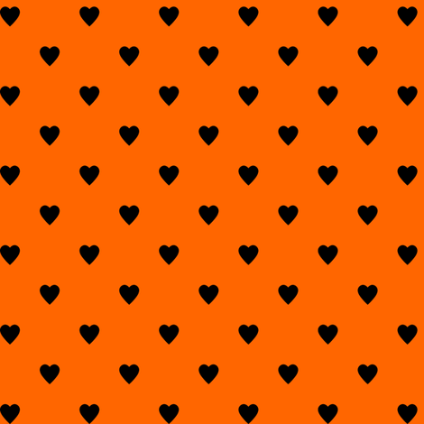 Black Hearts on Orange fabric by mtothefifthpower on Spoonflower - custom fabric