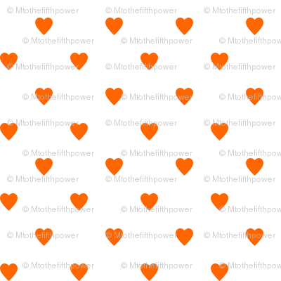 Orange Hearts on White