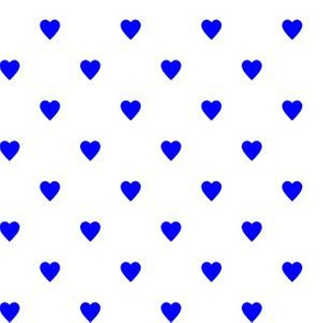 Blue Hearts on White