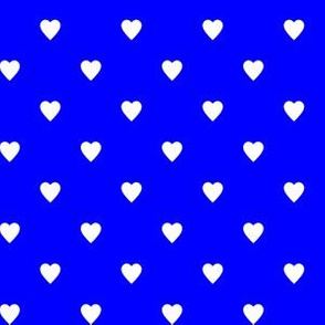 White Hearts on Blue