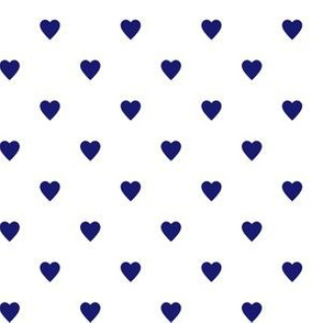 Midnight Blue Hearts on White