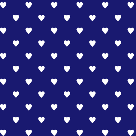 White Hearts on Midnight Blue fabric by mtothefifthpower on Spoonflower - custom fabric