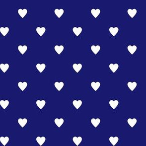 White Hearts on Midnight Blue