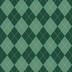 Argyle (green orange) - 1.5in