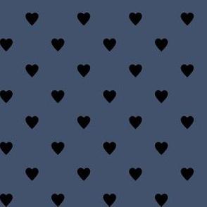 Black Hearts on Blue Jeans Blue