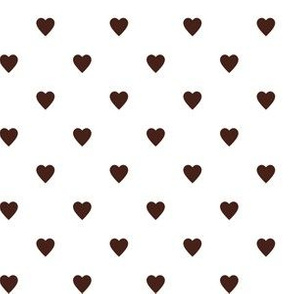 Brown Hearts on White