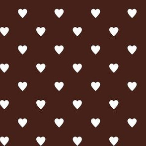 White Hearts on Brown