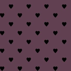 Black Hearts on Eggplant Purple