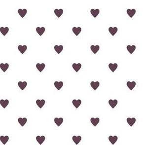 Eggplant Purple Hearts on White